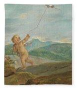 Angel Flying A Kite Fleece Blanket