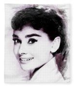 Audrey Hepburn, Vintage Actress Fleece Blanket