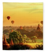 Bagan Pagodas And Hot Air Balloon Fleece Blanket by Pradeep Raja PRINTS