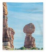 Balanced Rock In Arches National Park Near Moab  Utah At Sunset Fleece Blanket