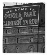 Baltimore Orioles Park At Camden Yards Bw Fleece Blanket