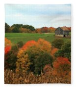 Barn On Autumn Hillside  A Seasonal Perspective Of A Quiet Farm Scene Fleece Blanket