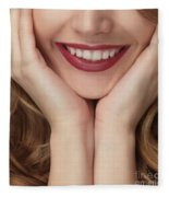 Beautiful Young Smiling Woman Fleece Blanket