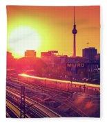 Berlin - Sunset Skyline Fleece Blanket