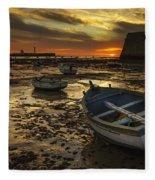 Boats On La Caleta Cadiz Spain Fleece Blanket
