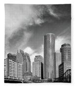Boston Skyline 1980s Fleece Blanket