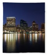 Buildings At The Waterfront, Inner Fleece Blanket