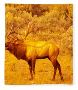 Bull Elk Calling Out Fleece Blanket