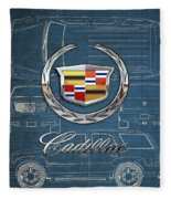Cadillac 3 D Badge Over Cadillac Escalade Blueprint  Fleece Blanket