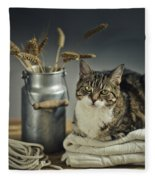 Cat Portrait Fleece Blanket