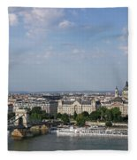 Chain Bridge On Danube River Budapest Cityscape Fleece Blanket