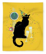 Chat Noir New Years Party Countdown Fleece Blanket
