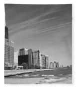 Chicago Skyline And Beach Fleece Blanket