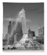 Chicago Skyline And Buckingham Fountain Fleece Blanket