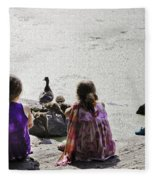 Children At The Pond 5 Fleece Blanket