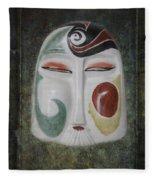 Chinese Porcelain Mask Grunge Fleece Blanket
