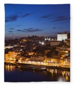 City Of Porto In Portugal By Night Fleece Blanket