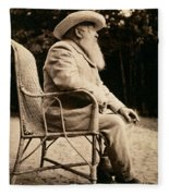 Claude Monet In His Garden Fleece Blanket