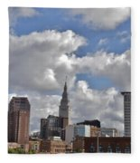 Cleveland Skyline From The Flats River District Fleece Blanket