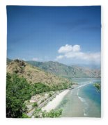 Coast And Beach View Near Dili In East Timor Leste Fleece Blanket