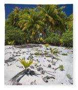 Coconut Palms On A Polynesian Beach Fleece Blanket