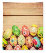 Colorful Hand Painted Easter Eggs On Wood Fleece Blanket