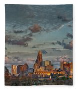 Cotton Candy Sky Over Charlotte North Carolina Downtown Skyline Fleece Blanket