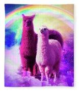 Crazy Funny Rainbow Llama In Space Fleece Blanket