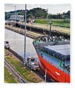 Crossing Panama Canal Fleece Blanket