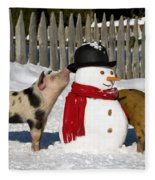Curious Piglets And Snowman Fleece Blanket