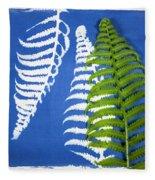 Cyanotype Print, Fern Fleece Blanket