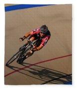 Cycle Racing On The Curve Fleece Blanket