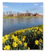 Daffodils Beside The Thames At Hampton Court London Uk Fleece Blanket