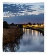 Dawn Over The Town River Fleece Blanket