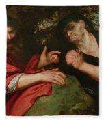 Democritus And Heraclitus Fleece Blanket