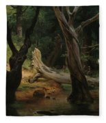 Departure For The Hunt In The Pontine Marshes Fleece Blanket