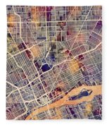 Detroit Michigan City Map Fleece Blanket