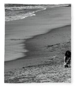 2 Dogs 2 Men Beach  Fleece Blanket