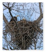 2 Eagles On Nest  3172b  Fleece Blanket