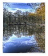 Early Morning Forest Pond Fleece Blanket