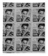 Elvis Commemorative Stamp January 8th 1993 Painted Bw Fleece Blanket