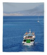 Emborio Harbour On Halki Fleece Blanket