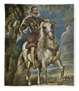 Equestrian Portrait Of The Duke Of Lerma Fleece Blanket