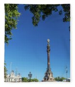 Famous Columbus Monument Landmark In Central Barcelona Spain Fleece Blanket