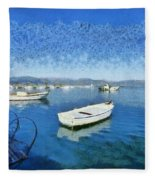 Fishing Boats In Nafplio Town Fleece Blanket