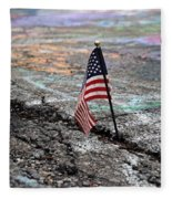 Flag In A Crack In The Pavement Fleece Blanket