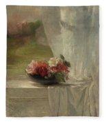 Flowers On A Window Ledge Fleece Blanket