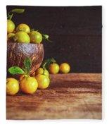 Fresh Kumquat Fruits Fleece Blanket