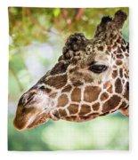 Giraffe Feeding On Green Leaves Of Lettuce Fleece Blanket