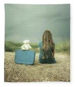 Girl In The Dunes Fleece Blanket